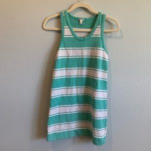 J. Crew Teal & White Striped Long Tank Top